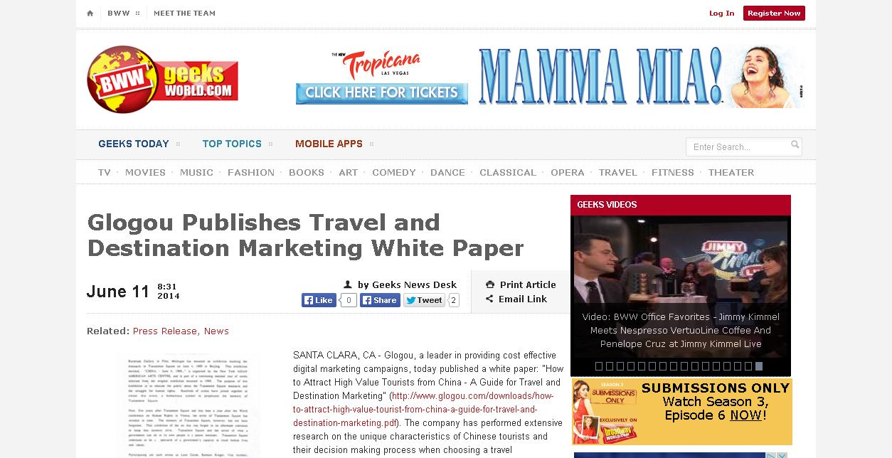 Bww Glogou Publishes Travel and Destination Marketing White Paper