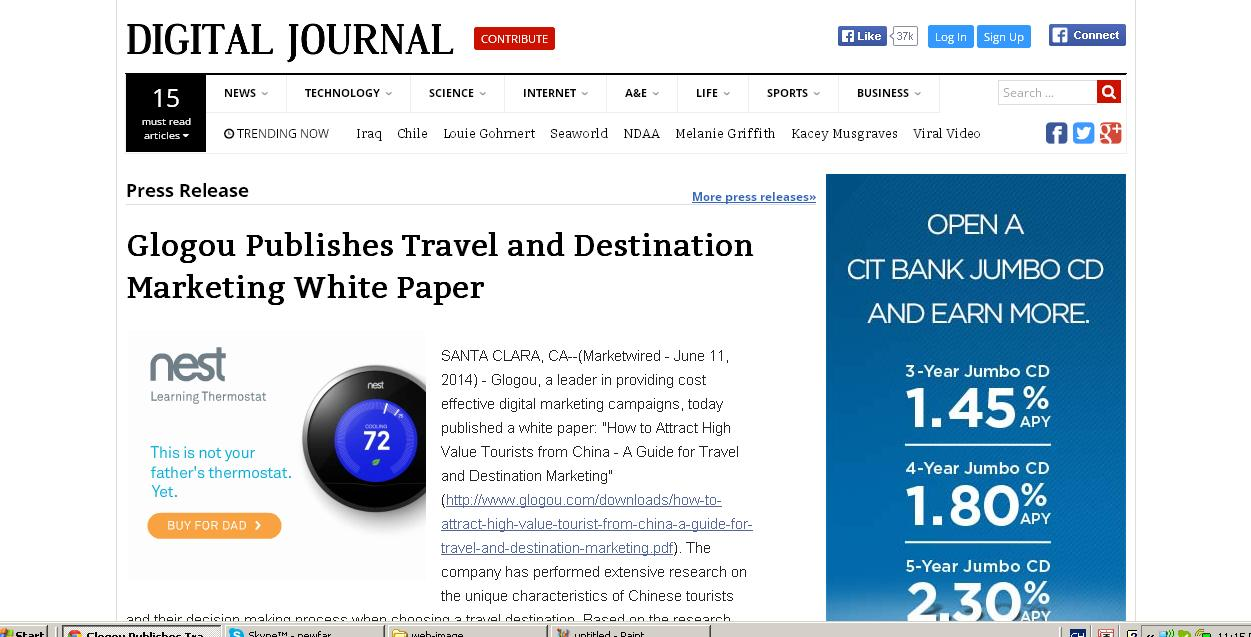 Digital Journal Glogou Publishes Travel and Destination Marketing White Paper