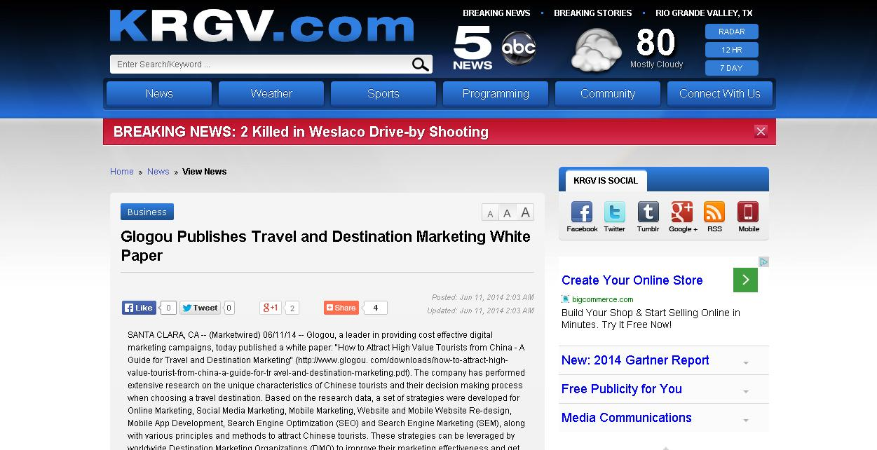 KRGV Glogou Publishes Travel and Destination Marketing White Paper
