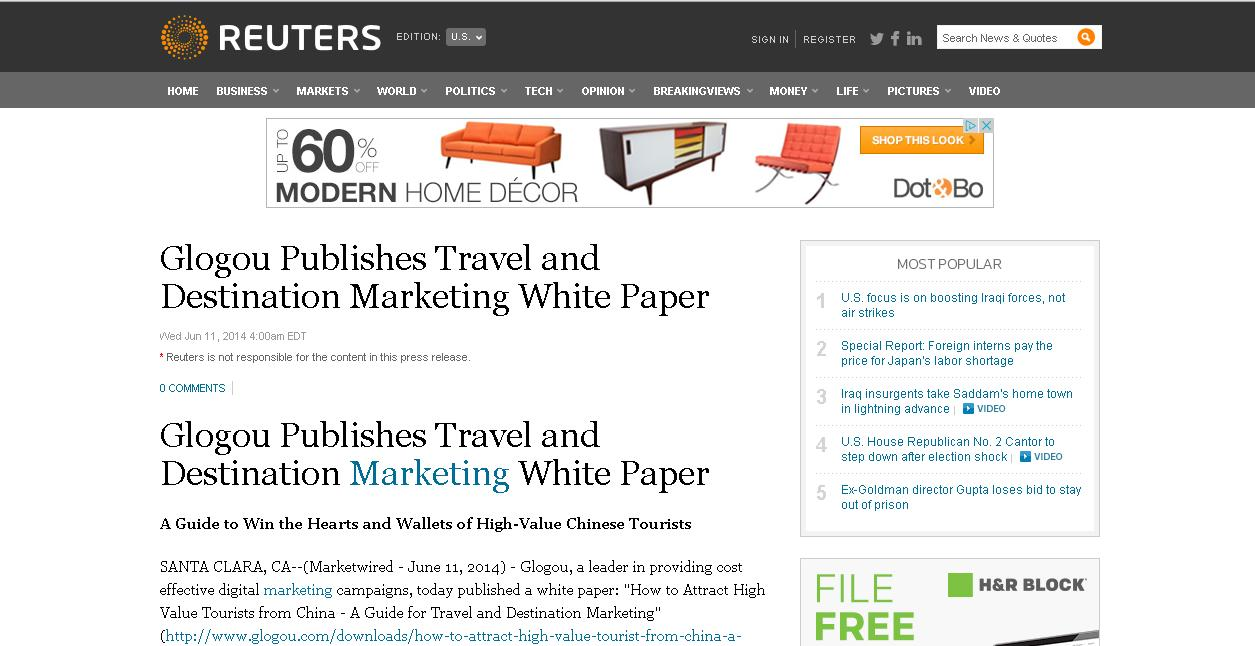 Reuters Glogou Publishes Travel and Destination Marketing White Paper
