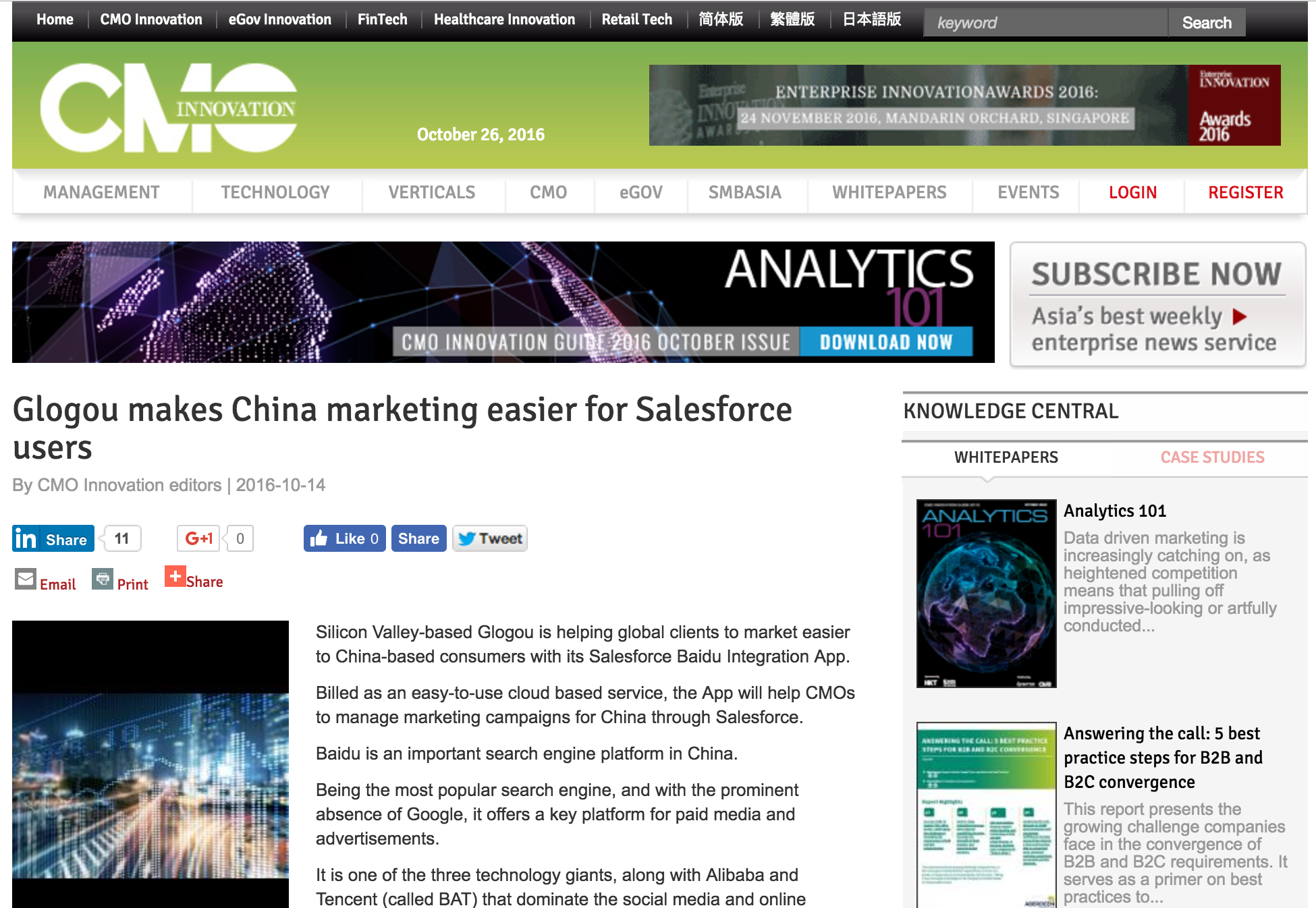 Glogou Launches Cloud Services to Integrate China Marketing Campaigns With Salesforce